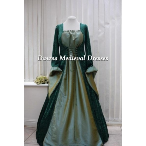 Gothic Medieval Pagan  Forest Green and Eau De Nil Green Taffeta