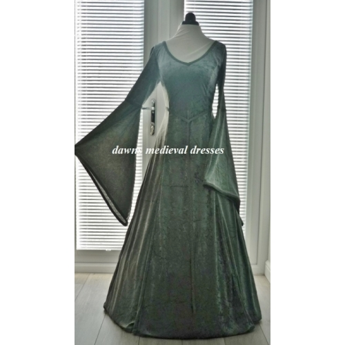 Medieval Pagan Lotr v neck Slate Wedding Dress
