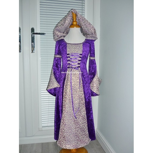 Girls Princess Medieval Bridesmaid Dress Purple RM