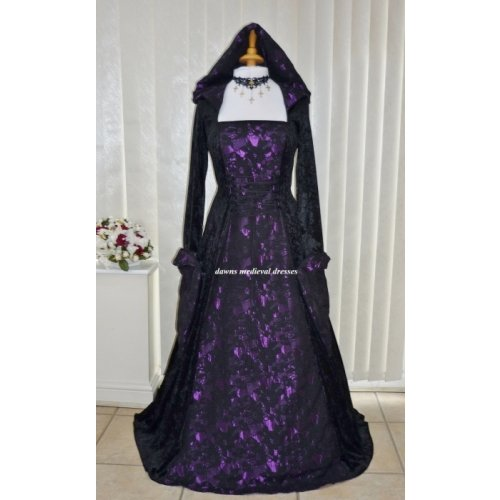 Medieval Hooded Wedding Dress Black & Purple Lace Brocade