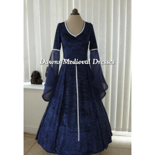 Medieval Pagan Navy Blue V Neck Wedding Dress