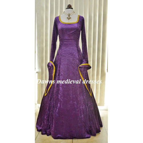 Medieval Purple LTOR Pagan Bridesmaid Wedding Dress Costume