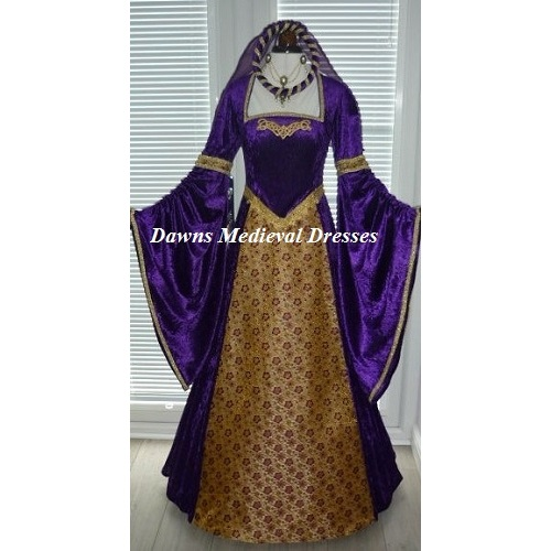 Tudor Medieval Renaissance Dress Costume Purple RM 14 - 16