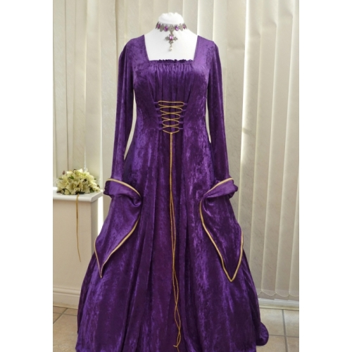 Medieval Gothic Pagan Purple and Gold Velvet Dress