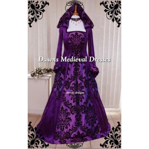 Medieval Pagan Goth Renaissance Wedding Dress Purple Hood