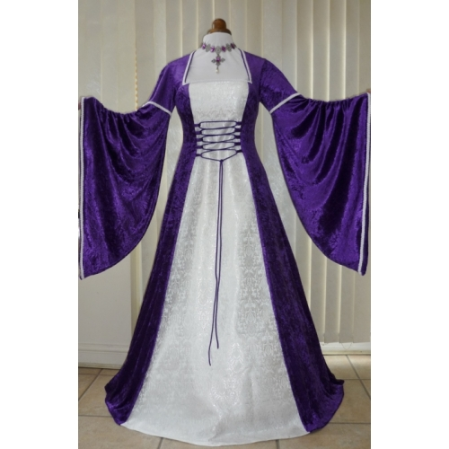 Renaissance Medieval Purple And White Brocade Dress