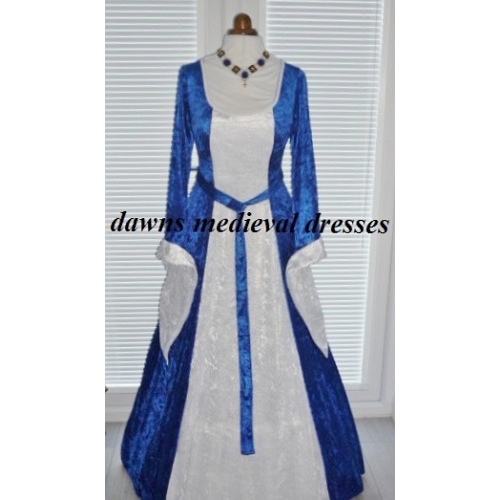 RM  Medieval Pagan Renaissance Blue and White Dress size 14 - 16