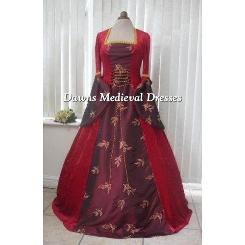 MEDIEVAL GOTH OPEN SLEEVE RED VELVET AND TAFFETA DRESS