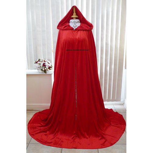 Red Medieval Handfasting Scottish Widow Cloak
