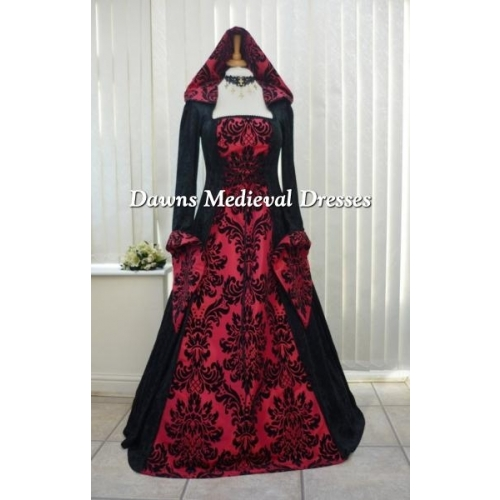Medieval Gothic Hooded Wedding Dress Black & Bold Red