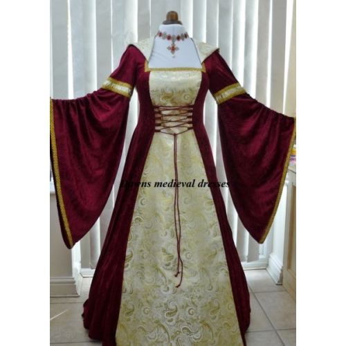 Renaissance Medieval 2017 Wedding Dresses A Line Burgundy: Pagan Renaissance Burgundy & Gold Wedding Hood Dress