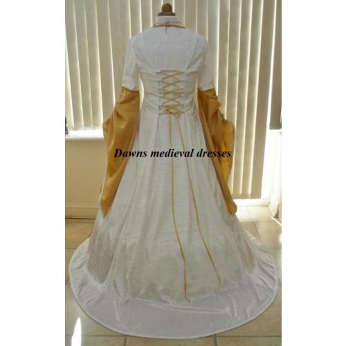 Renaissance Medieval Pagan Cream & Gold Wedding Dress