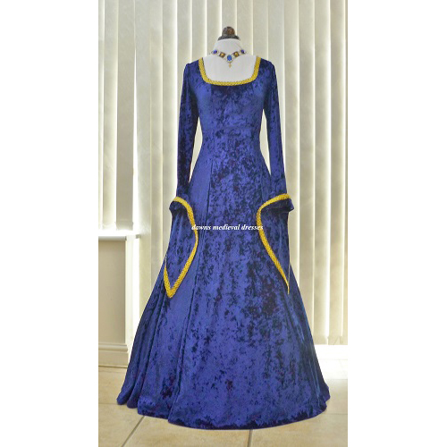 Medieval LOTR Pagan Dress Costume Royal Blue & Gold