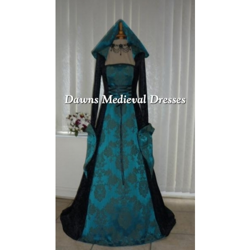 Medieval Gothic Renaissance Hooded Dress Black & Teal