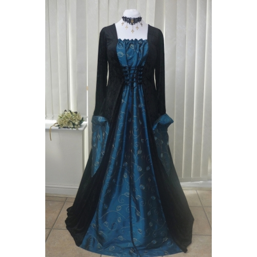 Medieval Gothic Pagan black & teal embroidered leaf Taffeta dres