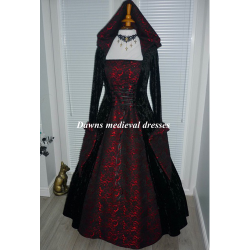 Black & Red Medieval Gothic Hooded Wedding Dress