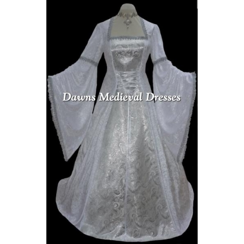 White and Silver Medieval Renaissance Pagan Wedding Dress